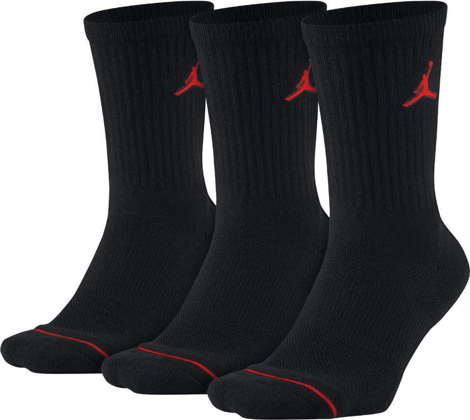 YK516 【メール便対応】 Jordan Jumpman 3 Pack Crew Socks ジョーダン ドライフィット クルーソックス 3足セット 黒赤  18-20cm