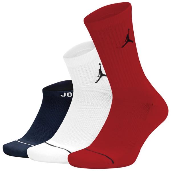 BK108  Jordan Jumpman 3 Pack Socks ジョーダン クルーソックス 3足セット 赤白黒 Mサイズ
