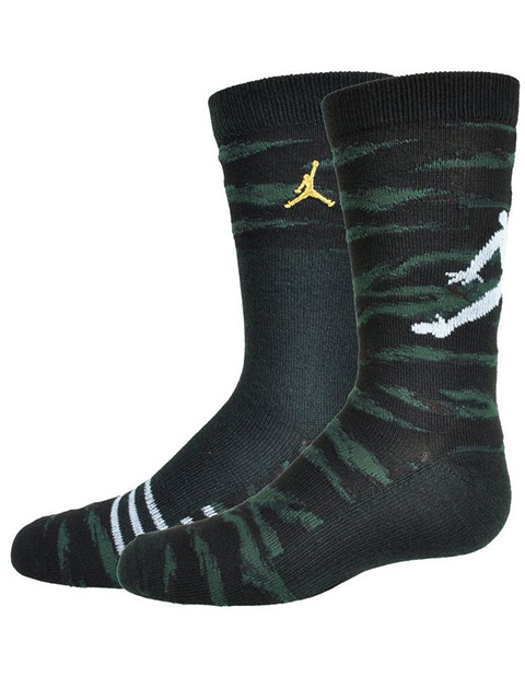 YK581 【メール便対応】 キッズ Jordan Crew Socks 2 Pair Pack ジョーダン クルーソックス 2足セット 黒モスグリーンゴールド【18cm~20cm】
