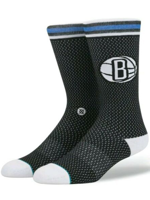 BK377 Stance NBA Brooklyn Nets ブルックリンネッツ Jersey Crew Socks クルーソックス 黒白 【メール便対応】
