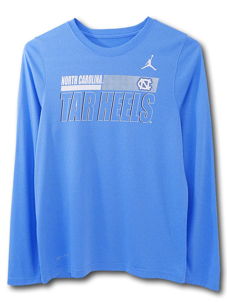LL533 ジュニア ジョーダン NCAA ノースカロライナ大学 ターヒールズ トレーニングTシャツ Jordan North Carolina Tar Heels キッズ 長袖 水色白【ドライフィット】 【メール便対応】