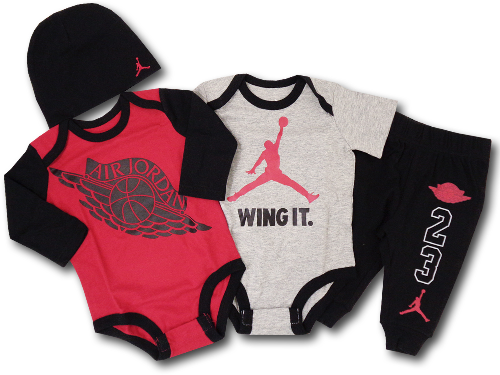 BH618 べビージョーダン Jordan Wings 4 Piece Infant Set ロンパース 4点セット 赤灰黒 【箱付き】