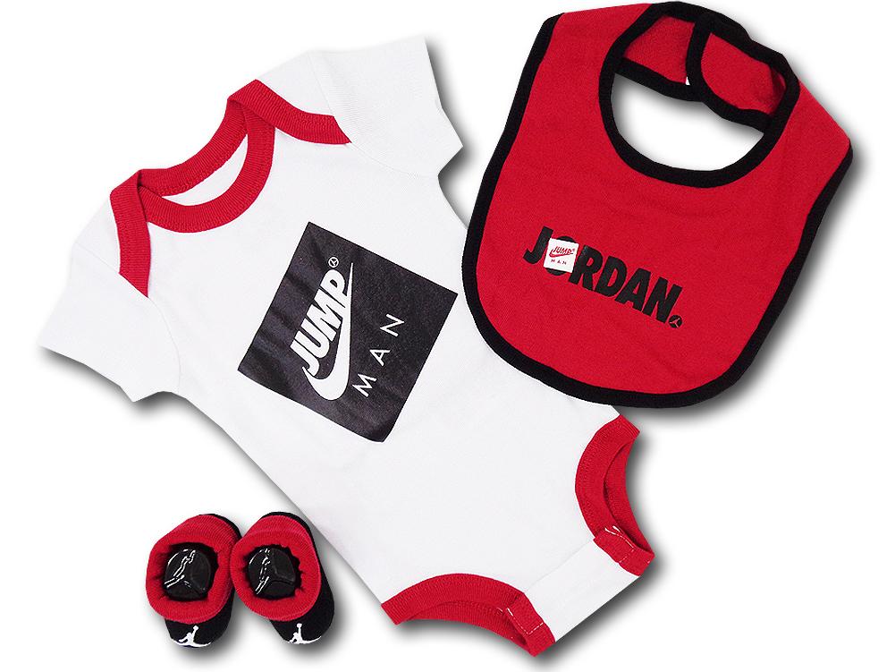 BH877 べビー ジョーダン ロンパース 3点セット Jordan Infant Set スタイ 靴下 ギフトセット 白赤黒【箱付き】
