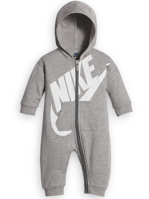 BT419 【メール便対応】 ベビー Nike Futura Infant Coverall ナイキ フード付き カバーオール 灰白