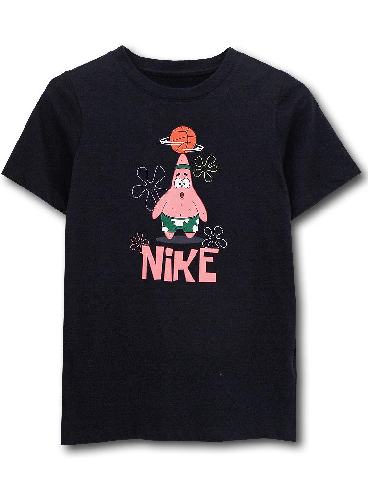 NK439 ジュニア ナイキ カイリー・アービング パトリックスター Tシャツ Nike Kyrie Irving Spongebob Patrick Star T-Shirt キッズ ユース トップス 黒ピンク 【メール便対応】