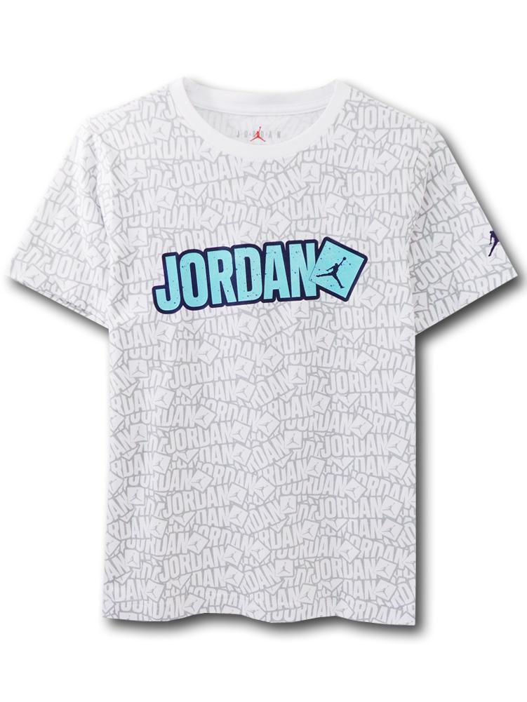 LL382 【メール便対応】 キッズ Jordan Sticker ジョーダン Tシャツ 白灰紺
