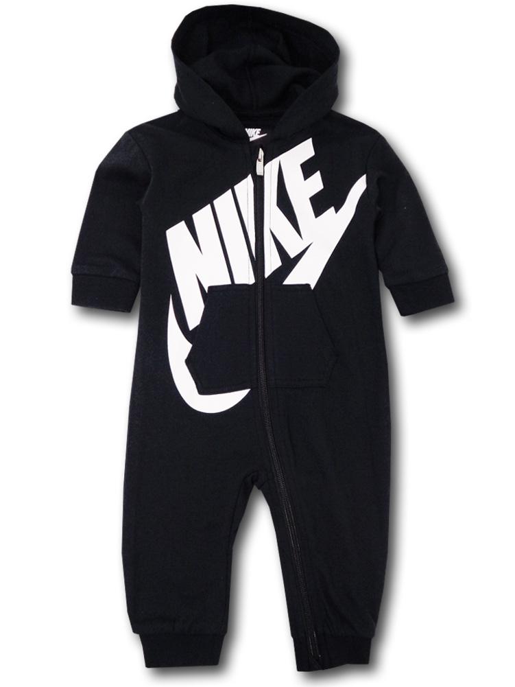 BT450 ベビー Nike Futura Infant Coverall ナイキ フード付き カバーオール 黒白 【メール便対応】