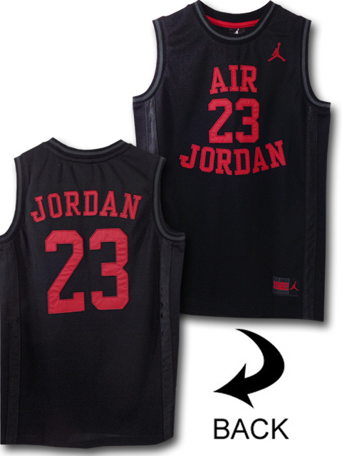 KT044 ジュニア Jordan Fly Since 1982 Jersey ジョーダン ジャージ ノースリーブ キッズ 黒赤 【メール便対応】