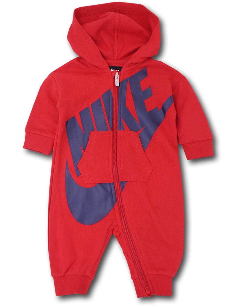BT709 ベビー Nike Futura Infant Coverall ナイキ フード付き カバーオール 赤紺 【メール便対応】
