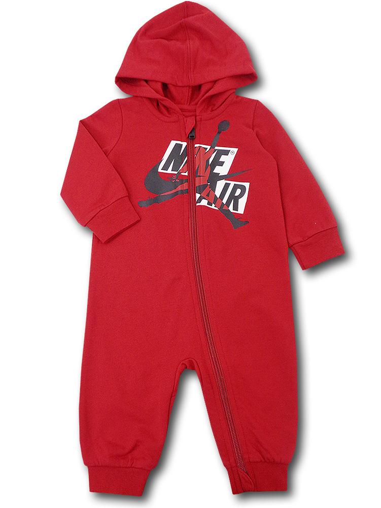 BT103 ベビー ジョーダン フード付き カバーオール Jordan Jumpman Classics Coverall ベビー服 赤ちゃん 赤黒白 【メール便対応】