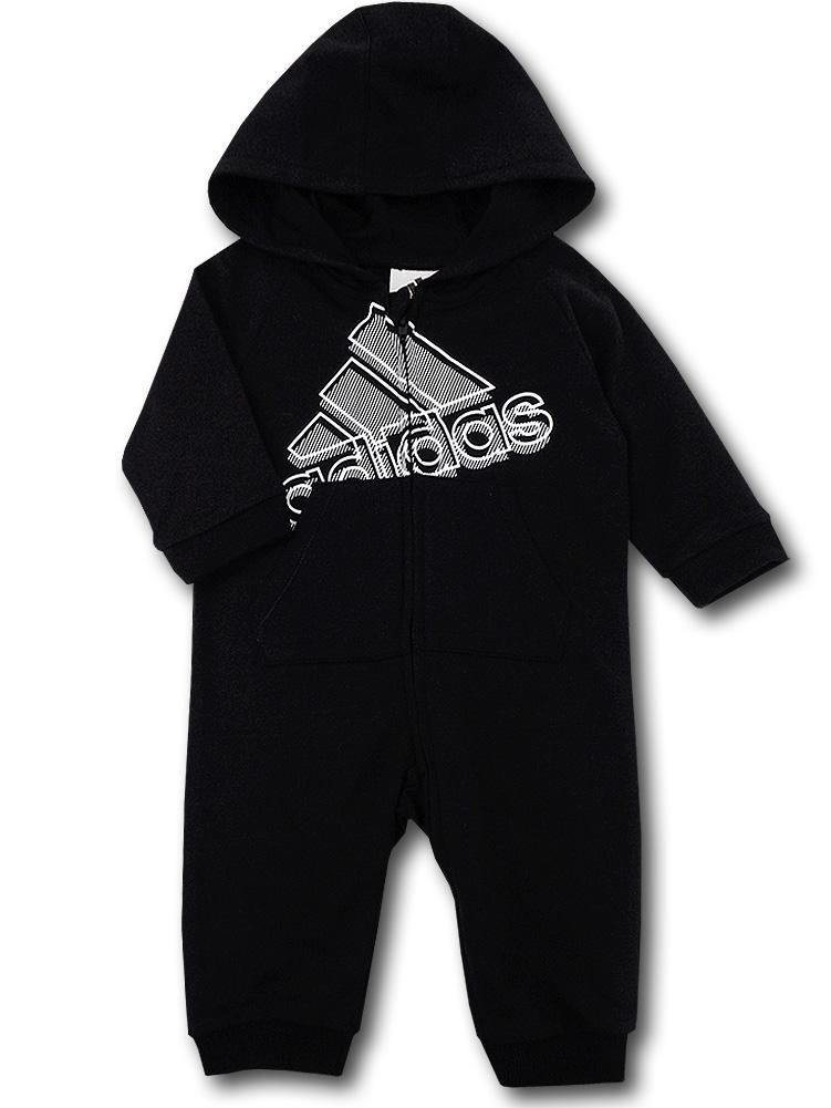 BO040 ベビー アディダス フード付きカバーオール adidas Hooded Coverall Baby ベビー服 赤ちゃん 黒白 【メール便対応】