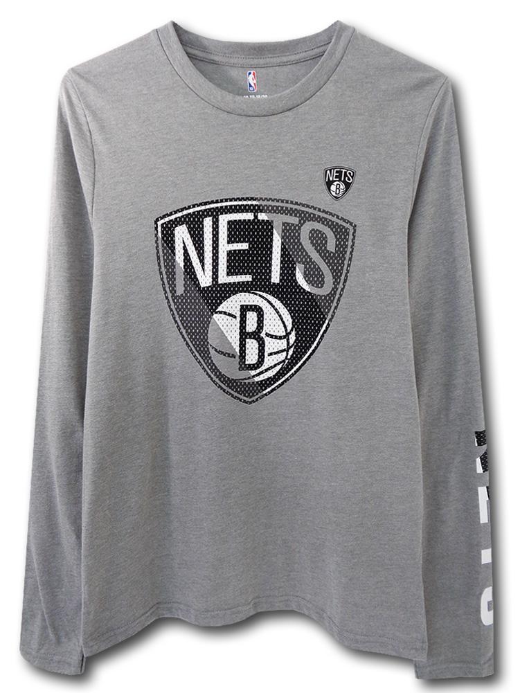 NK445 ジュニア NBA ブルックリン・ネッツ ロングスリーブTシャツ Brooklyn Nets キッズ トップス 長袖 灰黒白 【メール便対応】