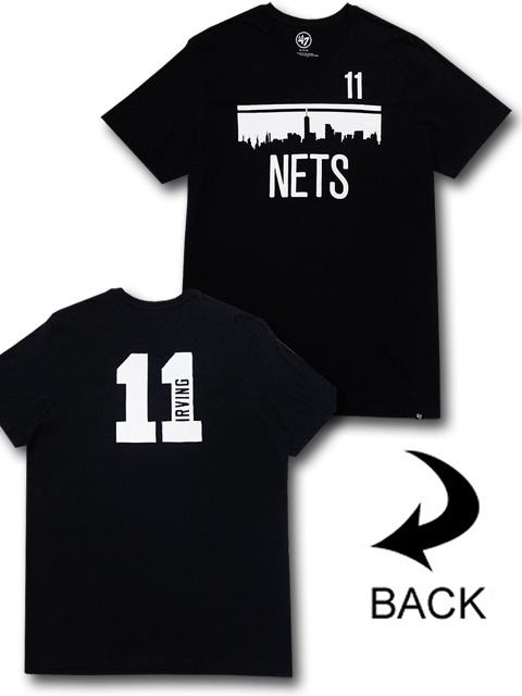 NB573 メンズ NBA ネッツ カイリー・アービング Tシャツ '47 Brooklyn Nets Kyrie Irving フォーティセブン 黒白 【メール便対応】