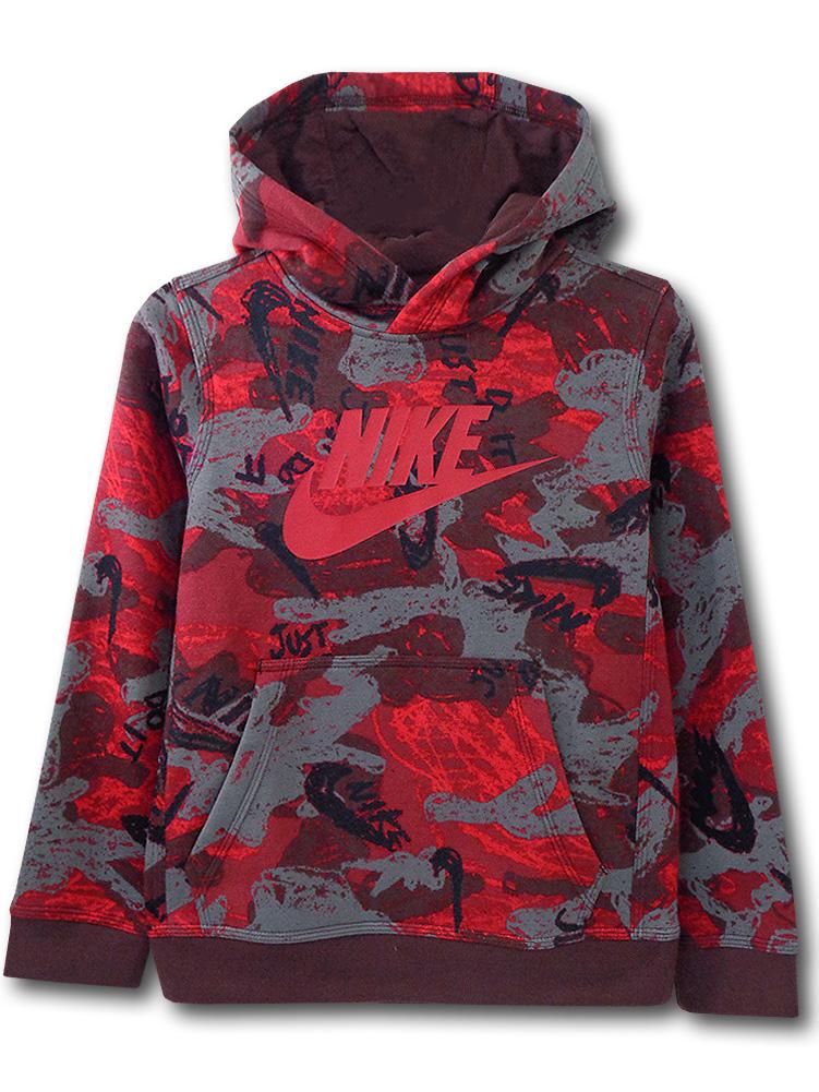 OK942 ジュニア ナイキ パーカー Nike Pullover Hoodie キッズ ユース ボルドー赤灰