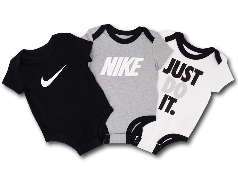 BT563 ベビー Nike Rompers Baby Just Do It. ナイキ ロンパース 3枚セット ベビー服 赤ちゃん 黒灰白 【メール便対応】