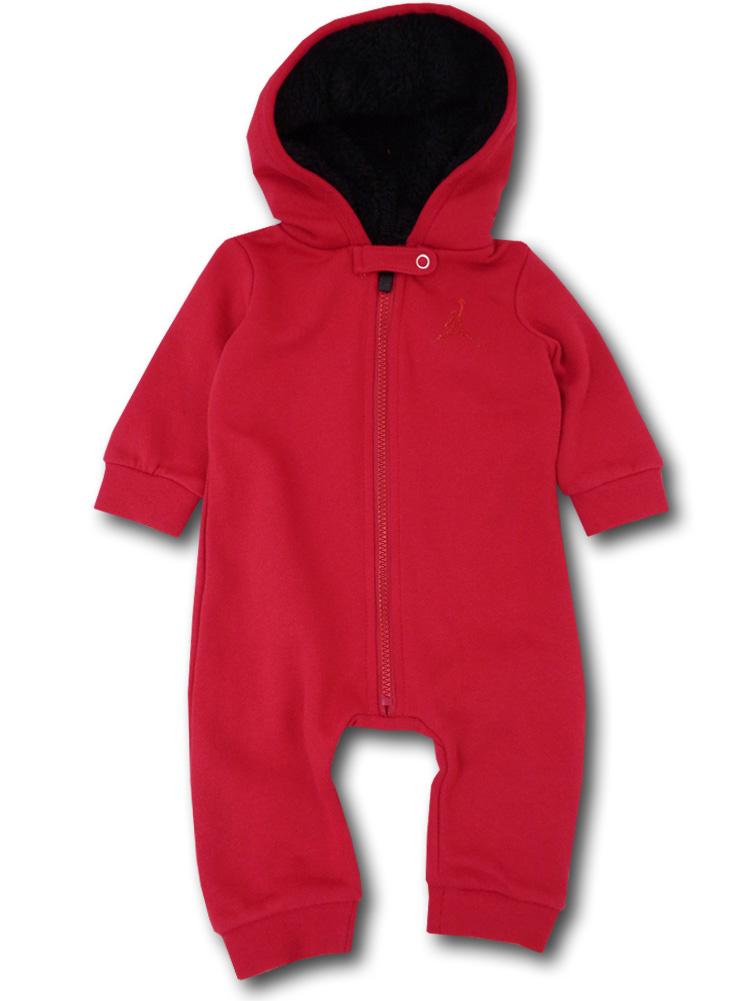 BT084 ベビー ジョーダン フード付き カバーオール Jordan Infant Coverall ベビー服 赤ちゃん 赤黒