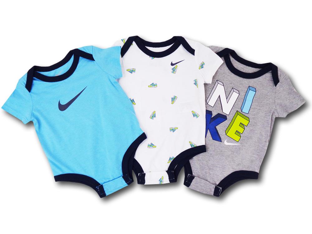 BY203 ベビー ナイキ ロンパース 3枚セット Nike Romper Baby ベビー服 赤ちゃん 水色白灰 【メール便対応】