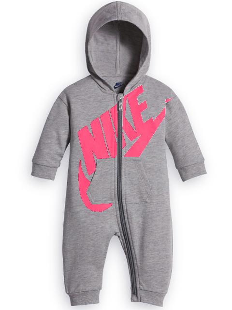 BT583 【メール便対応】 ベビー Nike Futura Infant Coverall ナイキ フード付き カバーオール 灰ネオンピンク