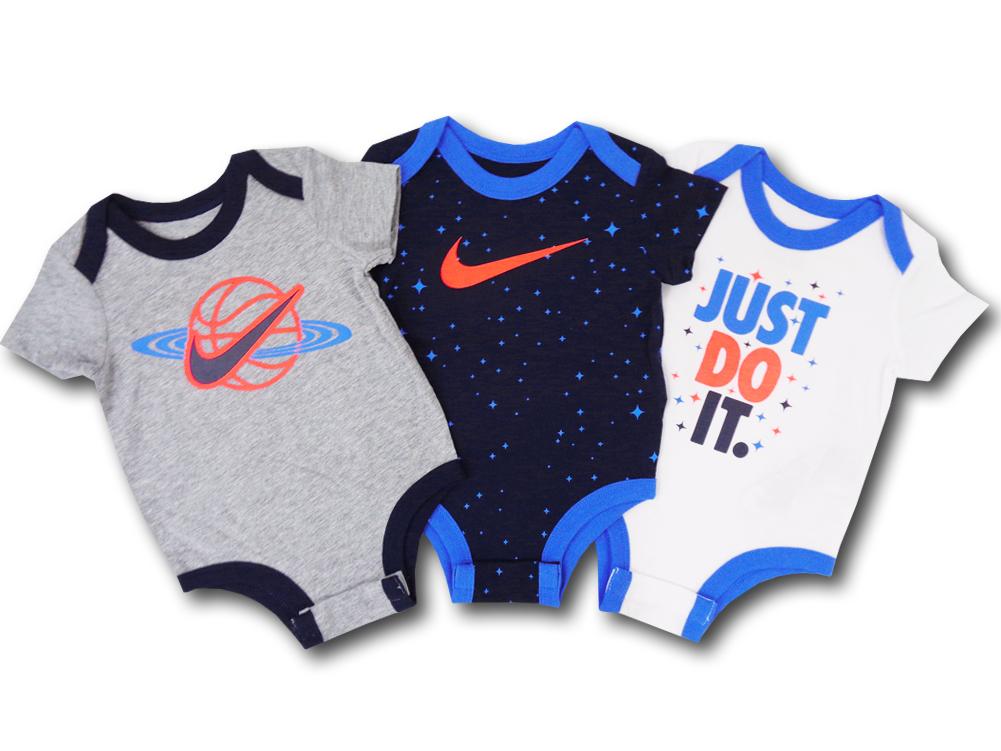 BY024 ベビー Nike Rompers Baby Just Do It. ナイキ ロンパース 3枚セット ベビー服 赤ちゃん 灰紺白 【メール便対応】