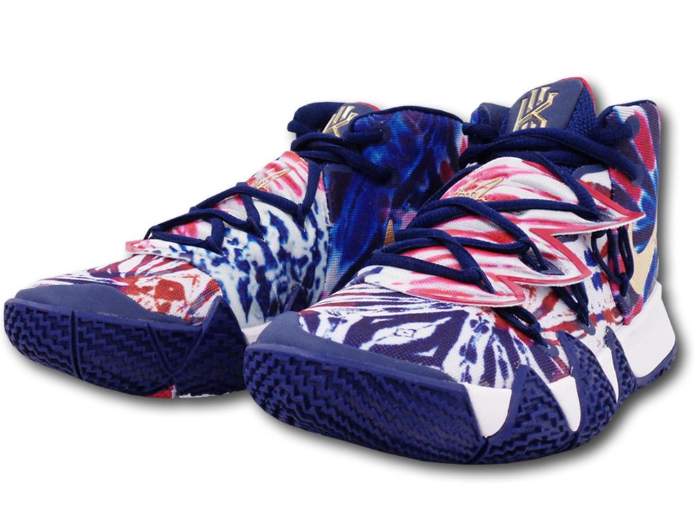 "KS699 キッズ/ジュニア Nike Kyrie Irving Kybrid S2 (GS) ""Tie Dye USA"" ナイキ カイリー・アービング バスケットシューズ カイブリッド ブルーボイド白メタリックゴールド【箱なし】"