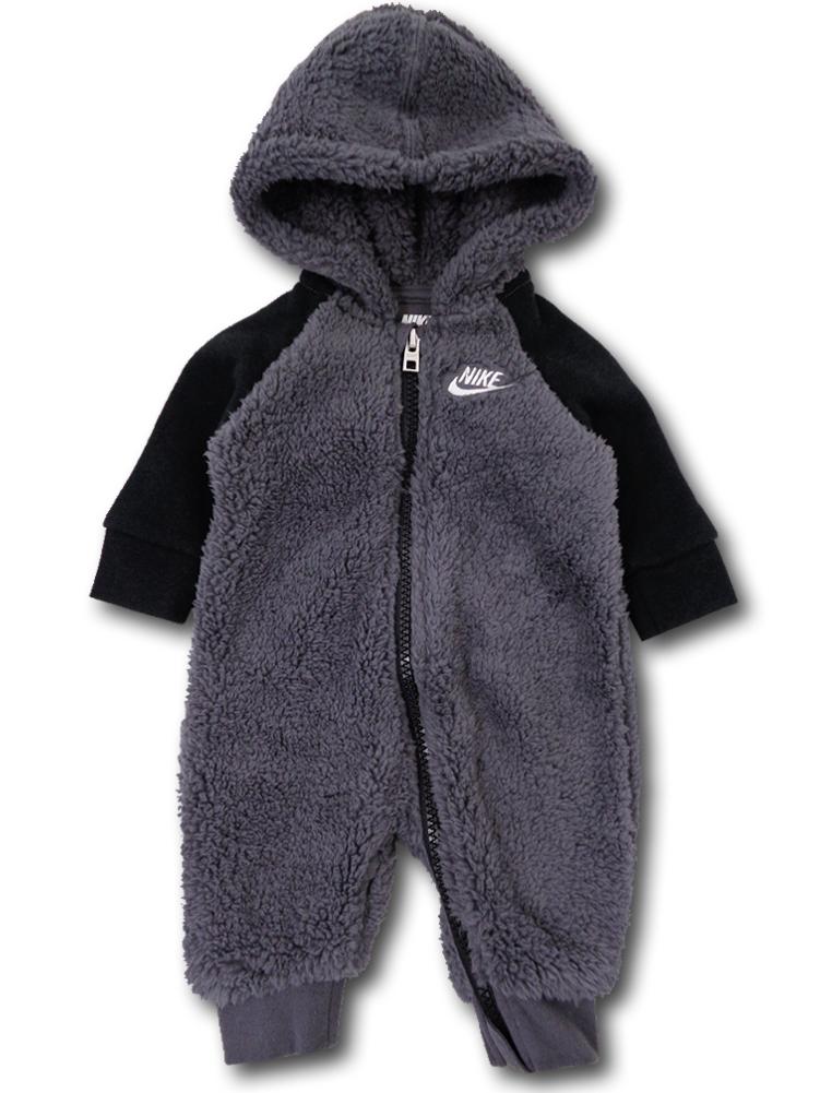 BY066 ベビー Nike Infant Coverall ナイキ フード付き もこもこカバーオール ベビー服 赤ちゃん ダークグレー黒
