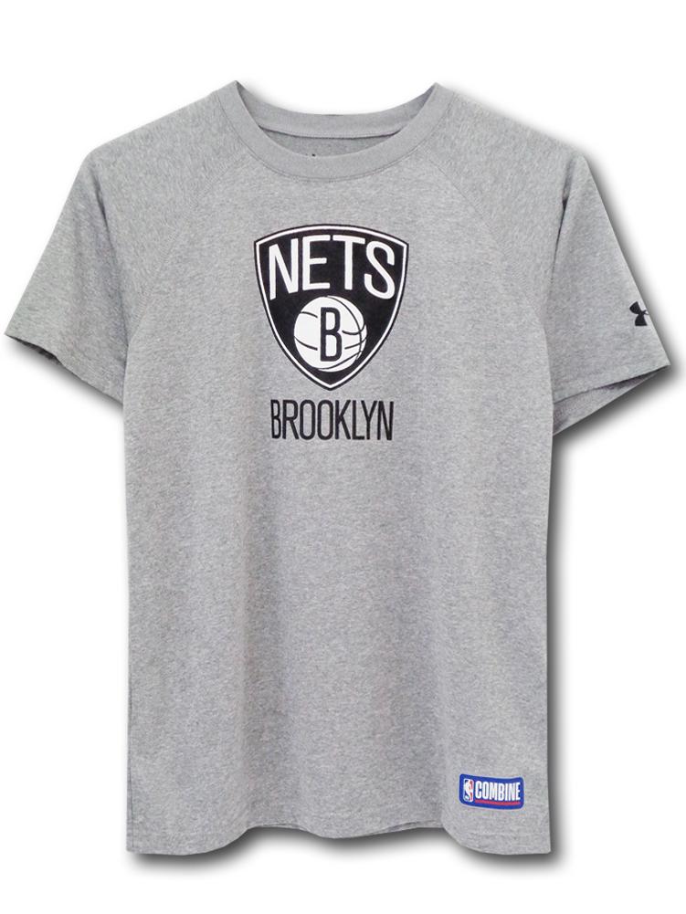 NK378 ジュニア アンダーアーマー NBA ブルックリン・ネッツ トレーニングTシャツ Under Armour Brooklyn Nets キッズ ユース トップス 灰黒 【メール便対応】