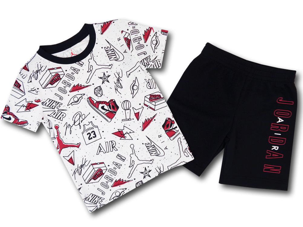 BT064 ベビー ジョーダン Tシャツ&ハーフパンツ セットアップ Jordan Infant Set ベビー服 子供用 白黒赤 【メール便対応】