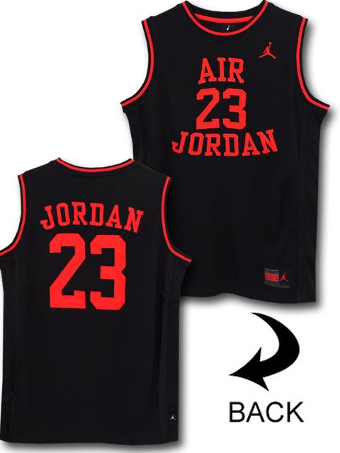 KT106 ジュニア Jordan Fly Since 1982 Jersey ジョーダン ジャージ ノースリーブ キッズ 黒ブライトオレンジ 【メール便対応】