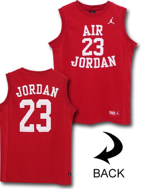 KT107 ジュニア Jordan Fly Since 1982 Jersey ジョーダン ジャージ ノースリーブ キッズ 赤白 【メール便対応】