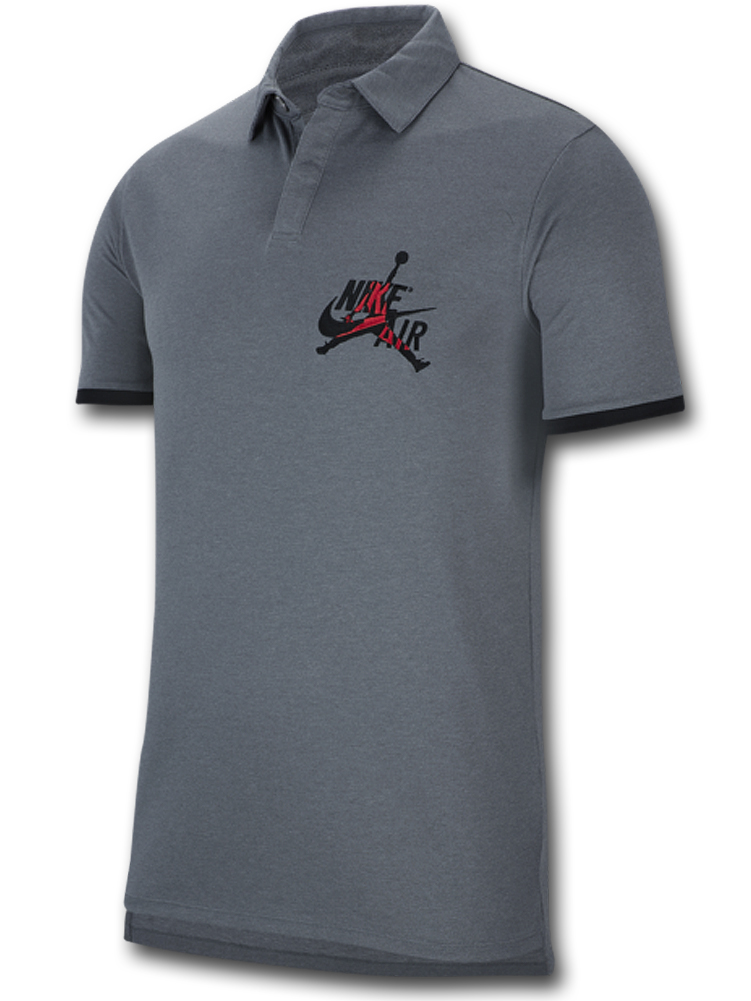 JP253 メンズ ジョーダン ポロシャツ Jordan Jumpman Classics Polo ダークグレー黒赤