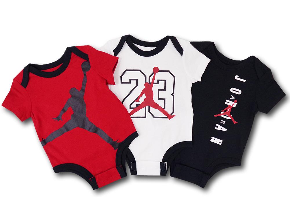 BT027 ベビー ジョーダン ロンパース 3枚セット Jordan Rompers 赤ちゃん ベビー服 赤白黒 【メール便対応】