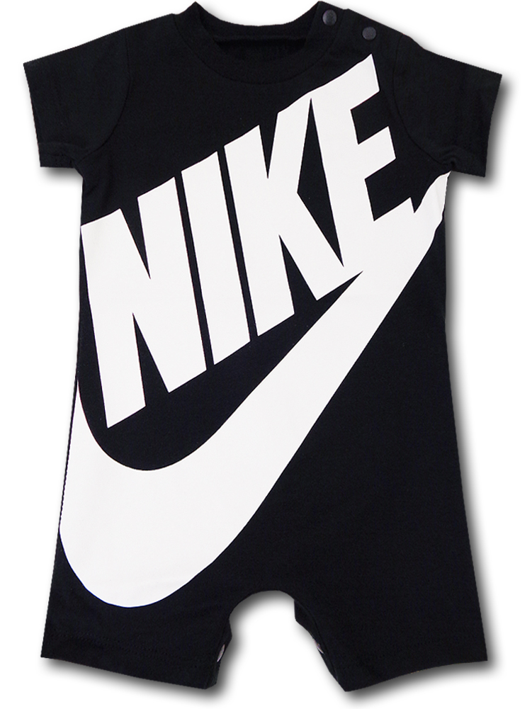 BY133 ベビー Nike Futura Rompers ナイキ ロンパース ベビー服 赤ちゃん 黒白 【メール便対応】