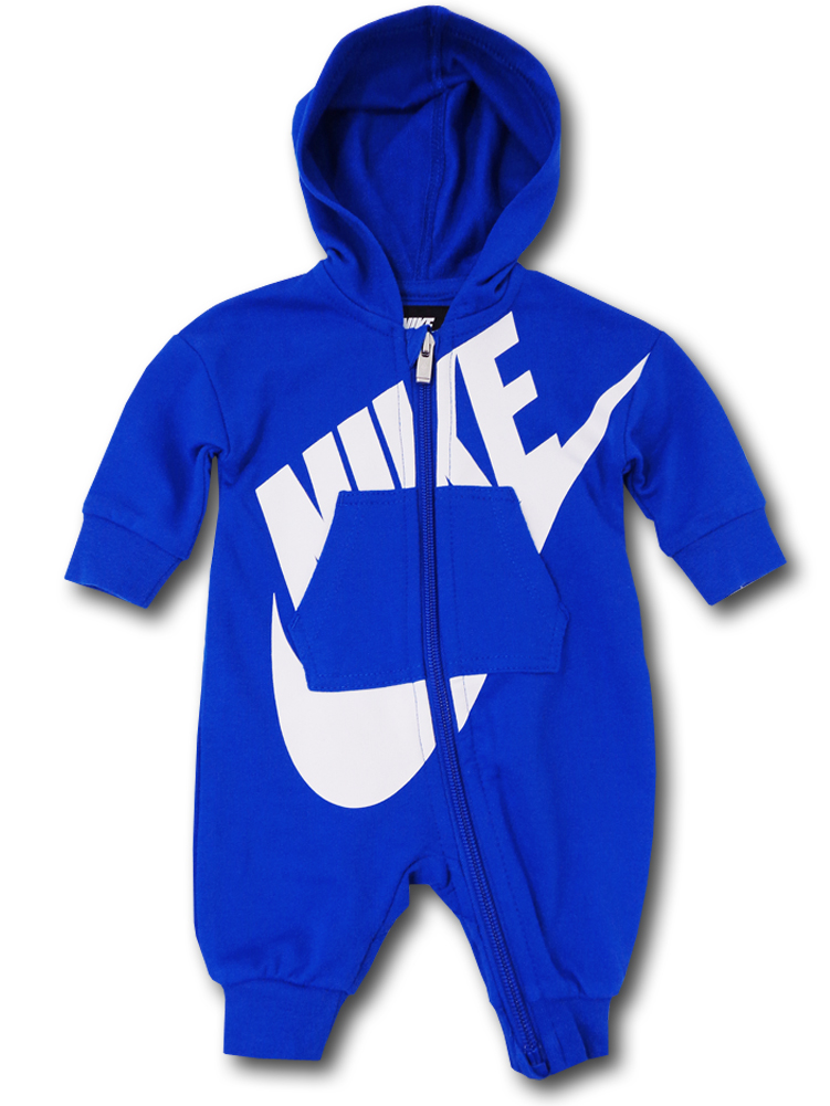 BT375 ベビー Nike Futura Infant Coverall ナイキ フード付き カバーオール 青白