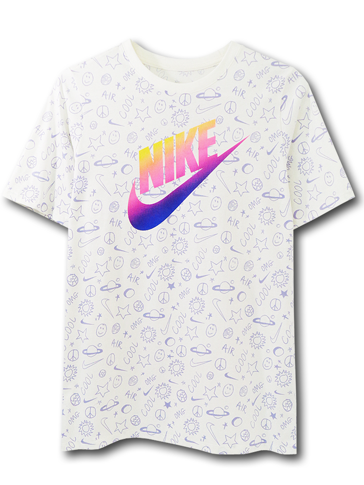NK398 ジュニア ナイキ Tシャツ Nike Youth T-Shirt キッズ ユース トップス アイボリー紫 【メール便対応】