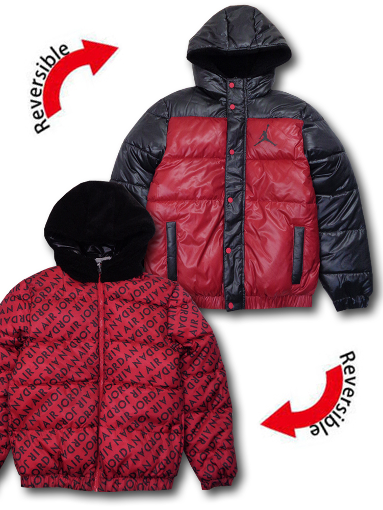 OK682 【SALE】キッズ Air Jordan Jacket ジョーダン リバーシブル 中綿ジャケット パーカー 赤黒
