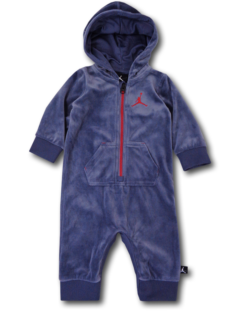 BT390 ベビー Jordan Infant Coverall ジョーダン フード付き ベロアカバーオール 紺赤
