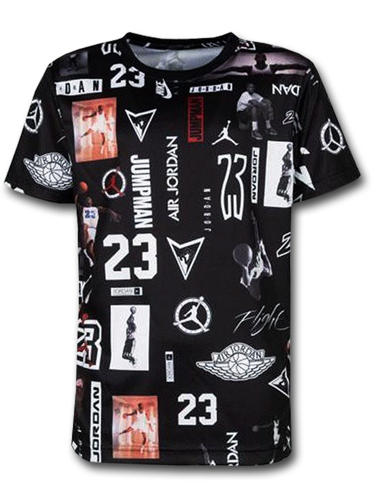 LL494 ジュニア ジョーダン トレーニング Tシャツ Jordan Stamped Logo Graphic T-Shirt キッズ ユース トップス 黒白 【メール便対応】