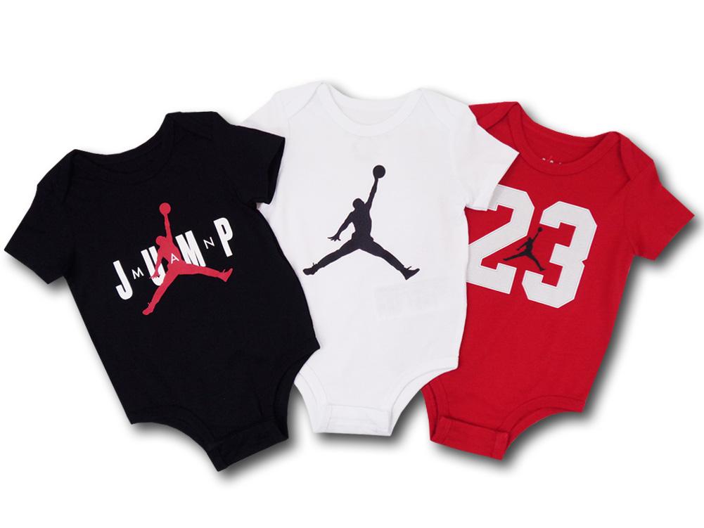 BT713 ベビー Jordan ジョーダン ロンパース 3枚セット ベビー服 赤ちゃん 黒白赤