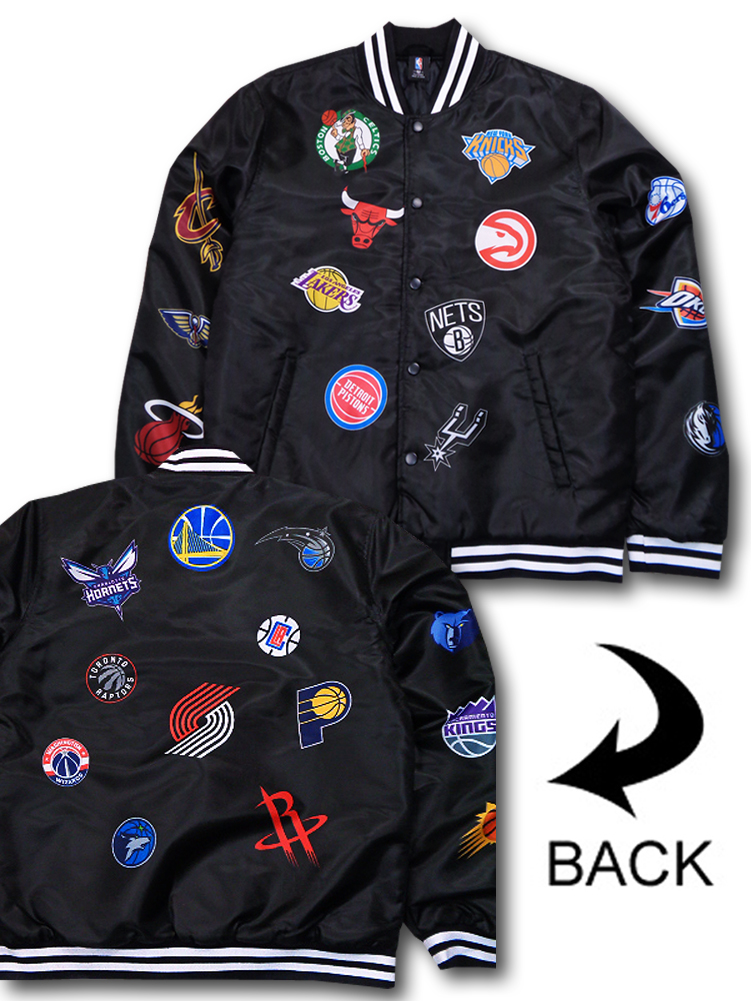 NJ268 【数量限定入荷】 UNK NBA Team Logos Bomber Jacket チームロゴ 中綿ボンバージャケット 黒白