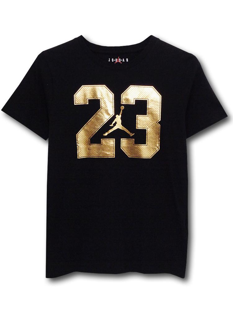 LL513 ジュニア ジョーダン Tシャツ Jordan Youth T-Shirt キッズ ユース トップス 黒メタリックゴールド 【メール便対応】