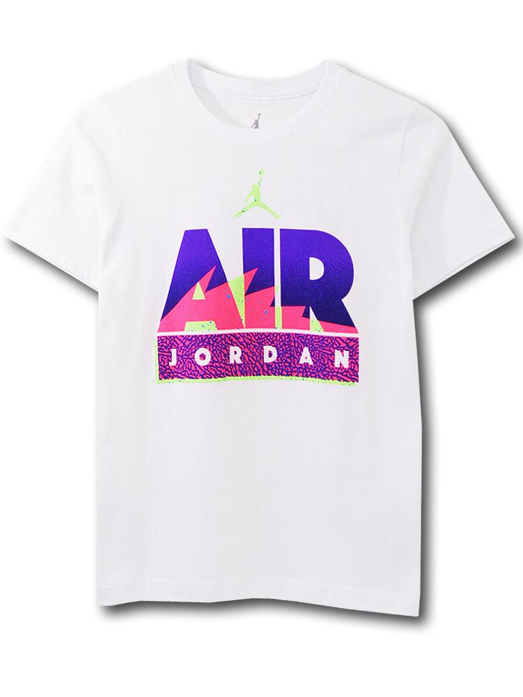 LL523 ジュニア ジョーダン Tシャツ Jordan Youth T-Shirt キッズ ユース トップス 白紫ネオンピンク 【メール便対応】