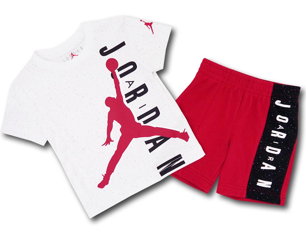 BP009 キッズ 子供用 ジョーダン Tシャツ&ハーフパンツ セットアップ Jordan Toddler Set 白赤黒 【メール便対応】