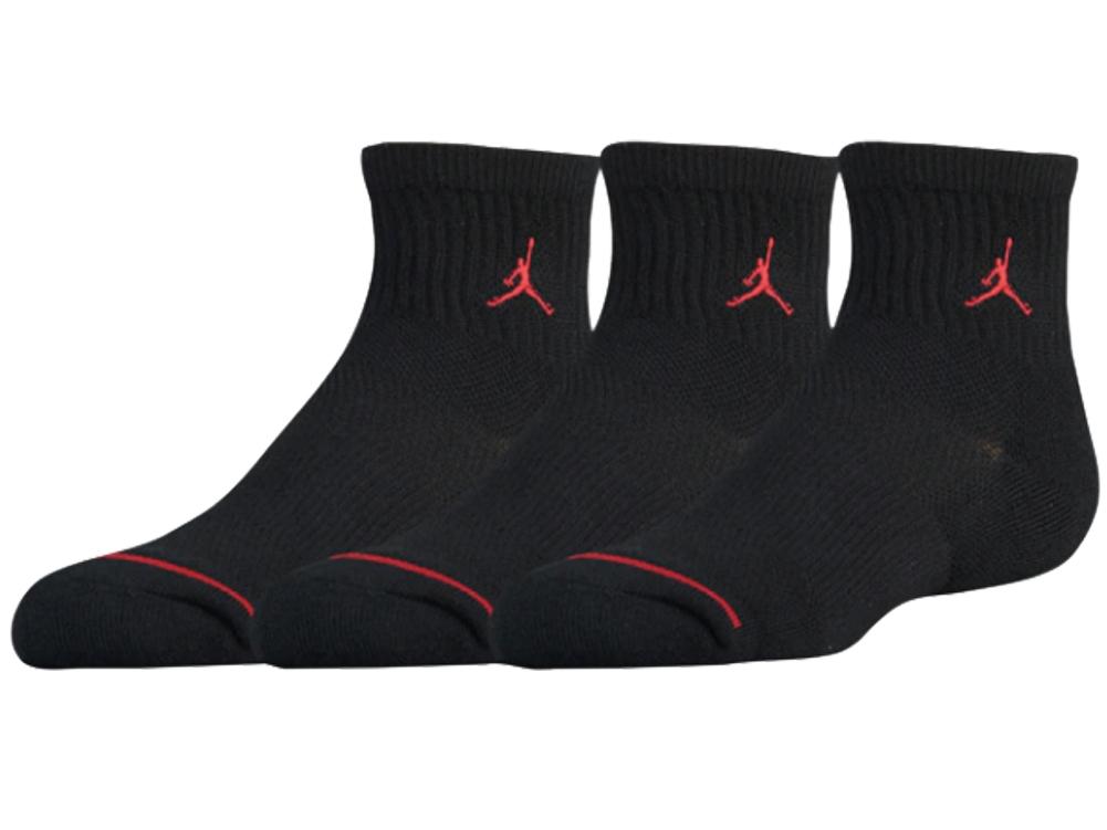 YK533 【メール便対応】 キッズ Jordan Quarter Socks ジョーダン クォーターソックス 3足セット 黒赤【18-20cm】