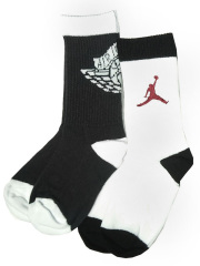 YK576 【メール便対応】 キッズ Jordan Wings Crew Socks ジョーダン クルーソックス 2足セット 白黒ダークグレイ【18-20cm】