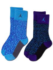 YK579 【メール便対応】 キッズ Jordan Elephant Socks ジョーダン クルーソックス 2足セット 水色紫系【18-20cm】