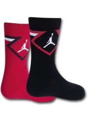 YK564 【メール便対応】 キッズ Jordan Diamond Crew Socks ジョーダン クルーソックス 2足セット 赤黒白【18-20cm】