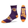 BK289 【メール便対応】 For Bare Feet NBA LA Lakers ロサンゼルス・レイカーズ クォーター  バスケットボール ソックス 紫黄色 【23cm~26.5cm】