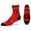 BK299 【メール便対応】 For Bare Feet NBA Chicago Bulls シカゴ・ブルズ クォーター  バスケットボール ソックス 赤黒 【23cm~26.5cm】