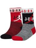 YK589 【メール便対応】 キッズ エアジョーダン クルーソックス 2足セット Jordan Fold over Socks 白黒赤【18-20cm】