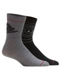 YK607 キッズ ジョーダン  クルーソックス 2足セット 靴下 ソックス Jordan Crew Socks 黒灰 18-20cm 【メール便対応】